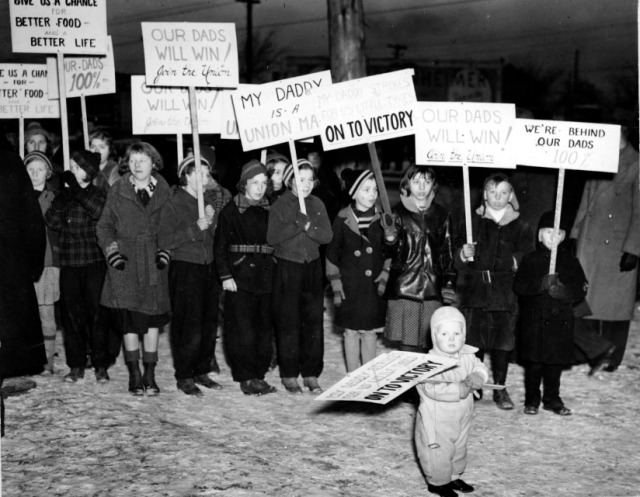 Even children had to work long hours on the picket lines.